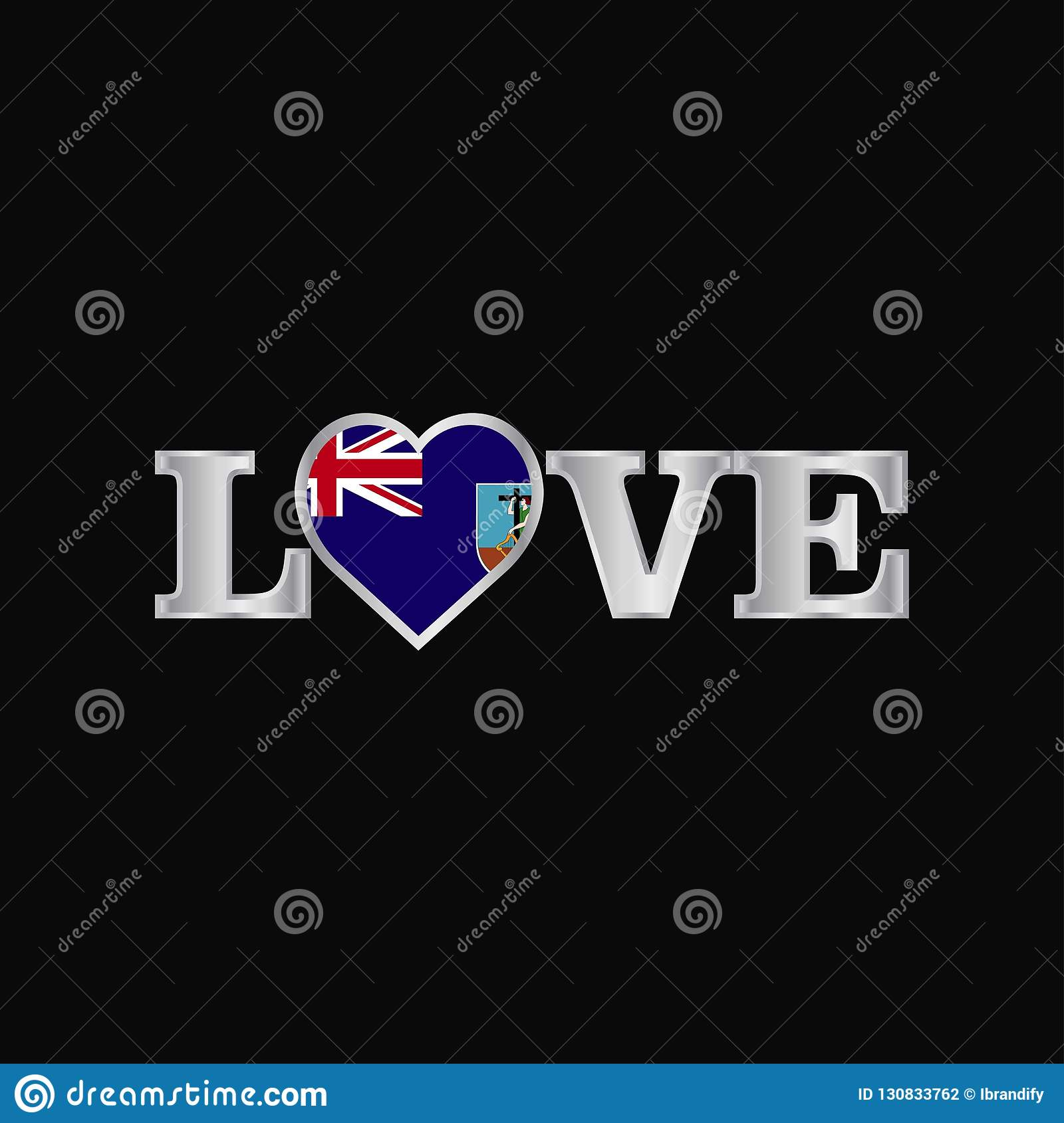 Love Typography With Montserrat Flag Design Vector Stock Vector