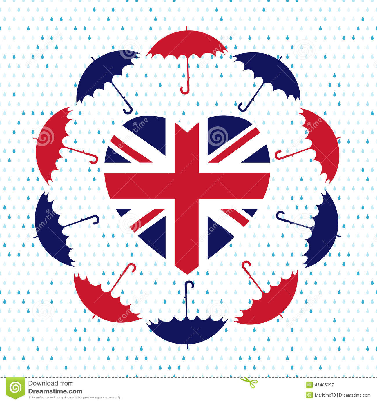 Looe United Kingdom  city photos gallery : Love United Kingdom Symbol. Heart Flag, Umbrellas, Rain . Vector Stock ...