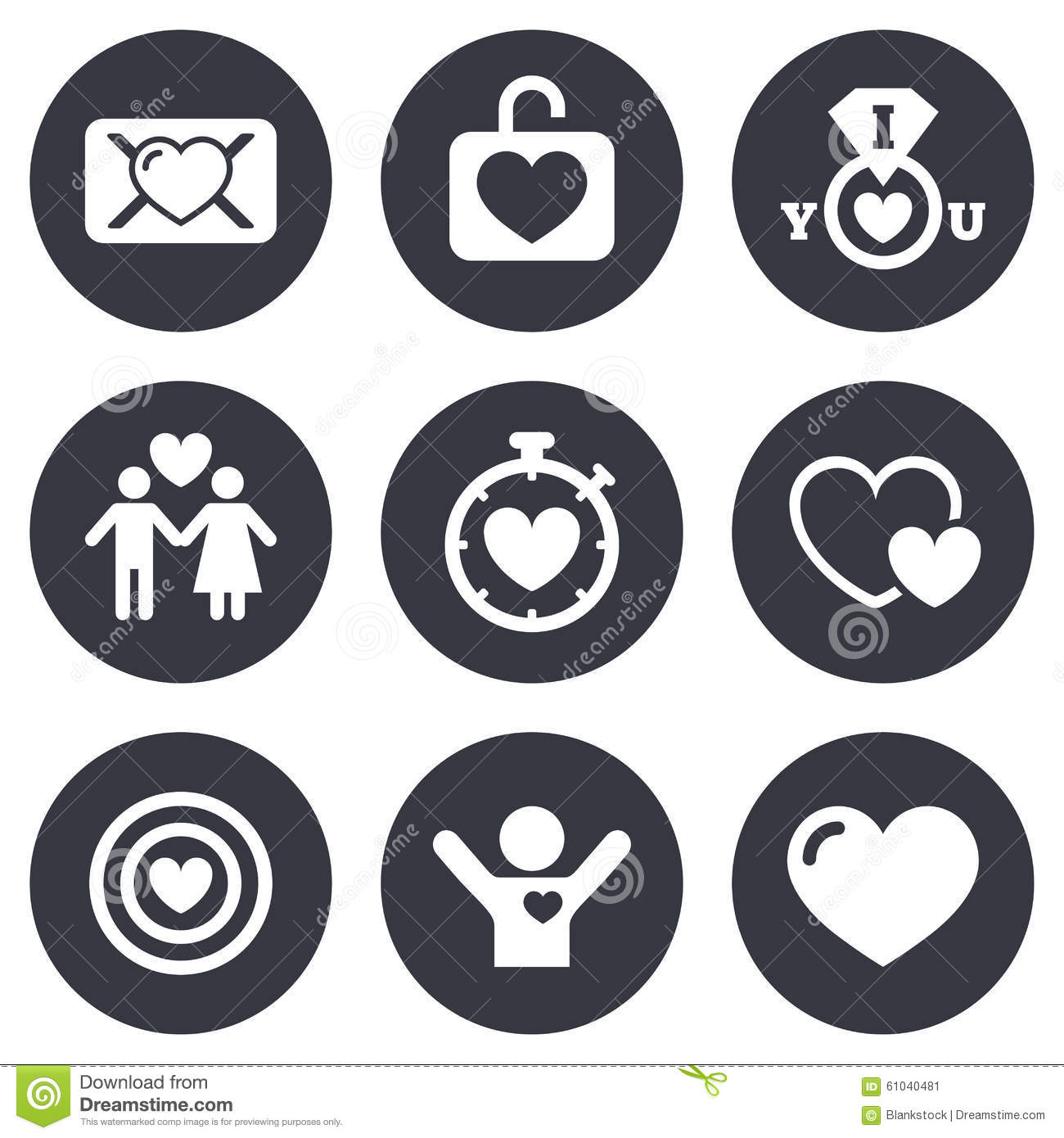 Love Valentine Day Icons Target With Heart Stock Vector