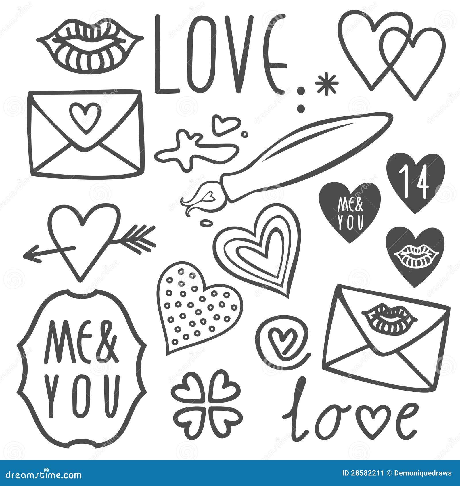 Love Valentines Day Doodles Set
