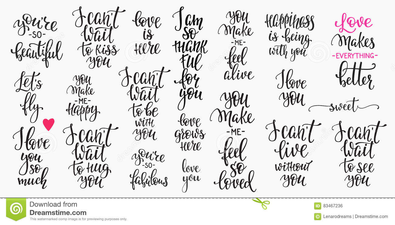 Love Valentines Day Quote Typography Set Stock Illustration