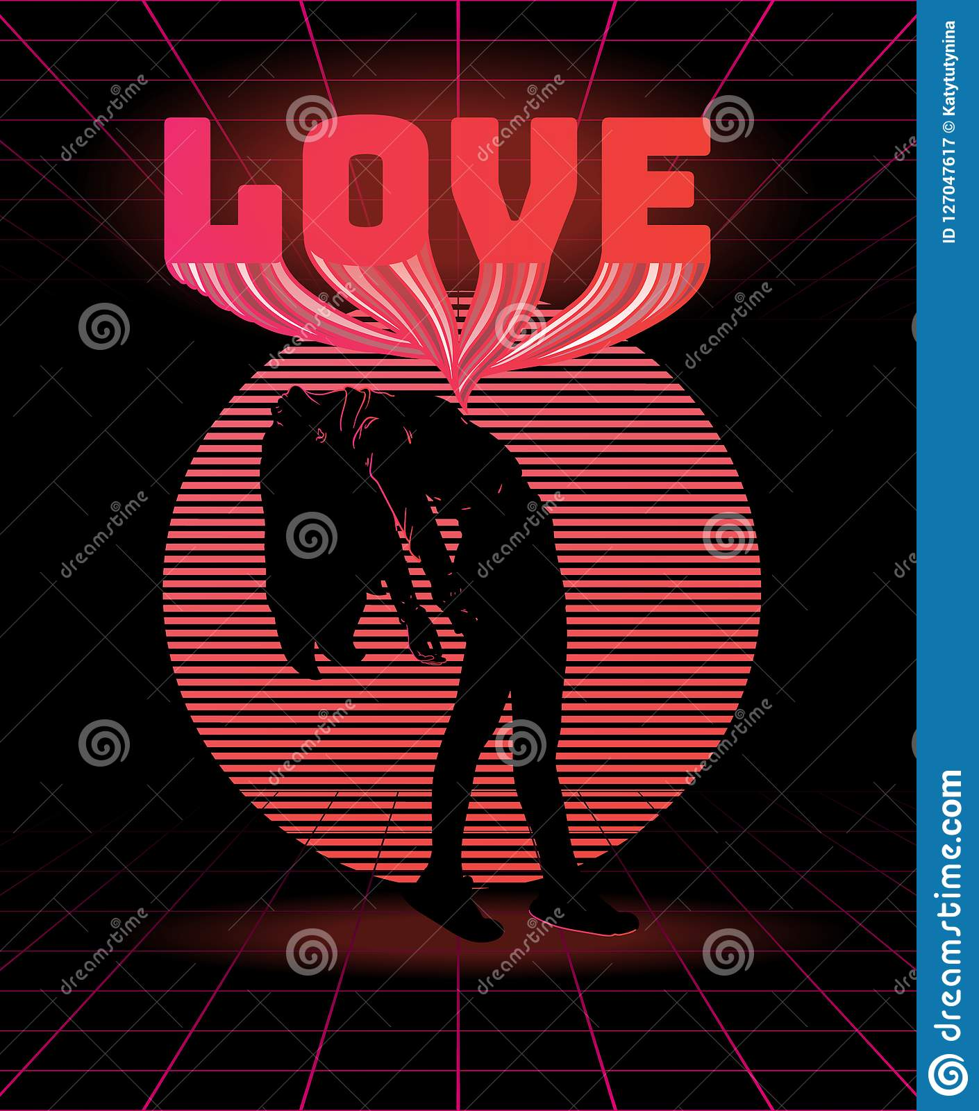love vector poster with silhouette of thin girl made in vaporwave