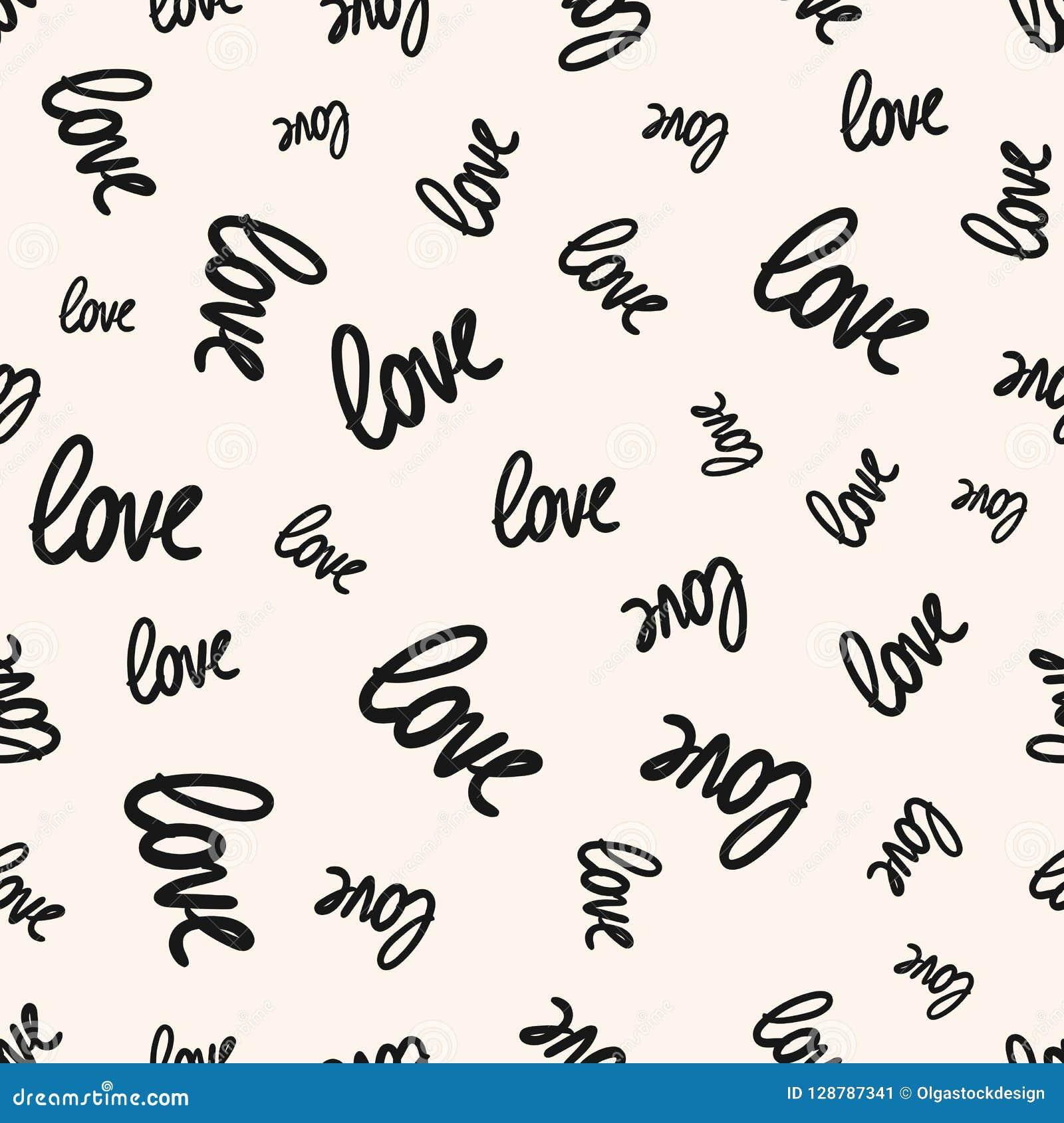 Valentines Day Background Handwritten Love Text Signs Stock Vector
