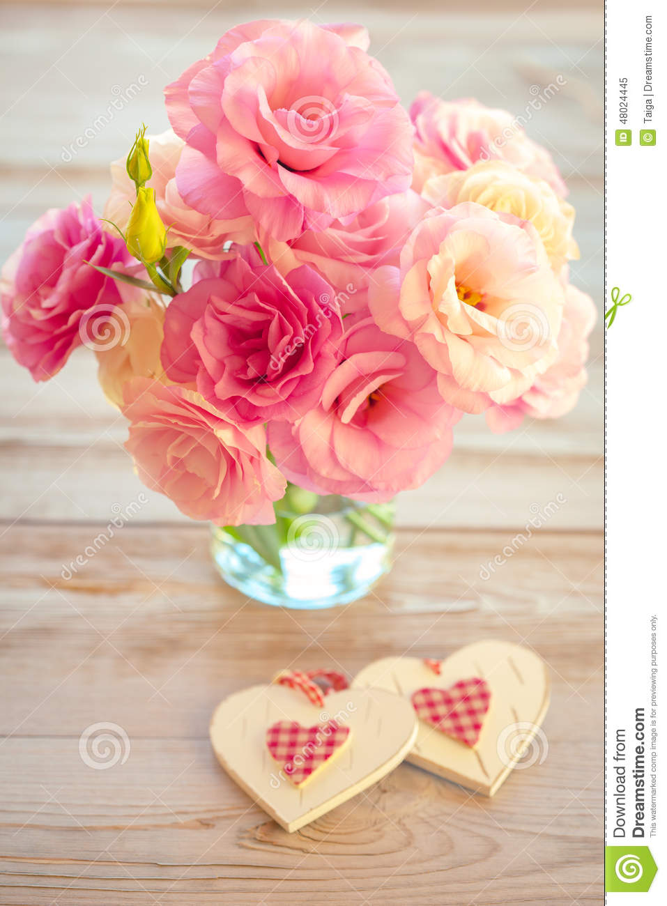 Love Vintage Background Beautiful Flowers And Two Handmade Hea