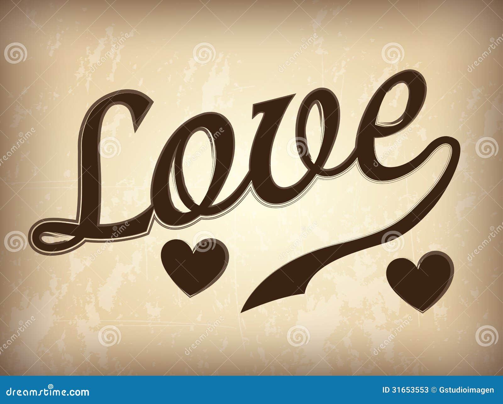 Love design over vintage background vector illustration