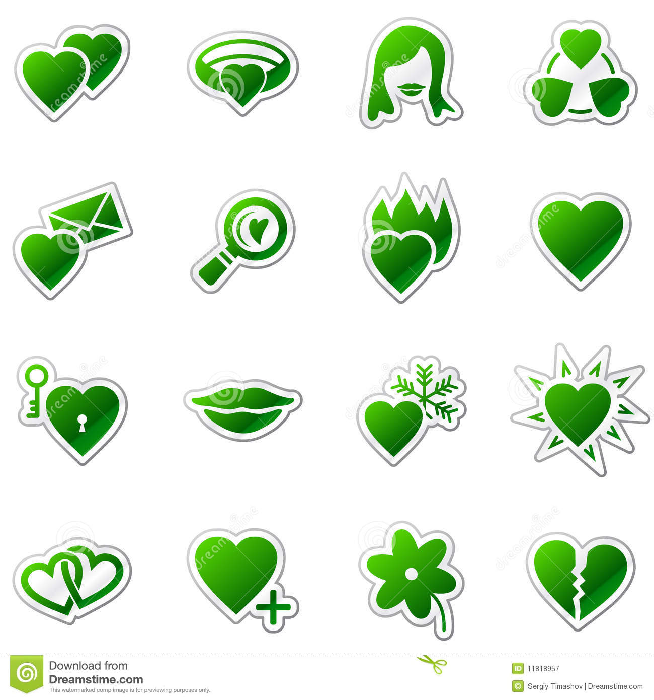 Love web icons, green sticker series
