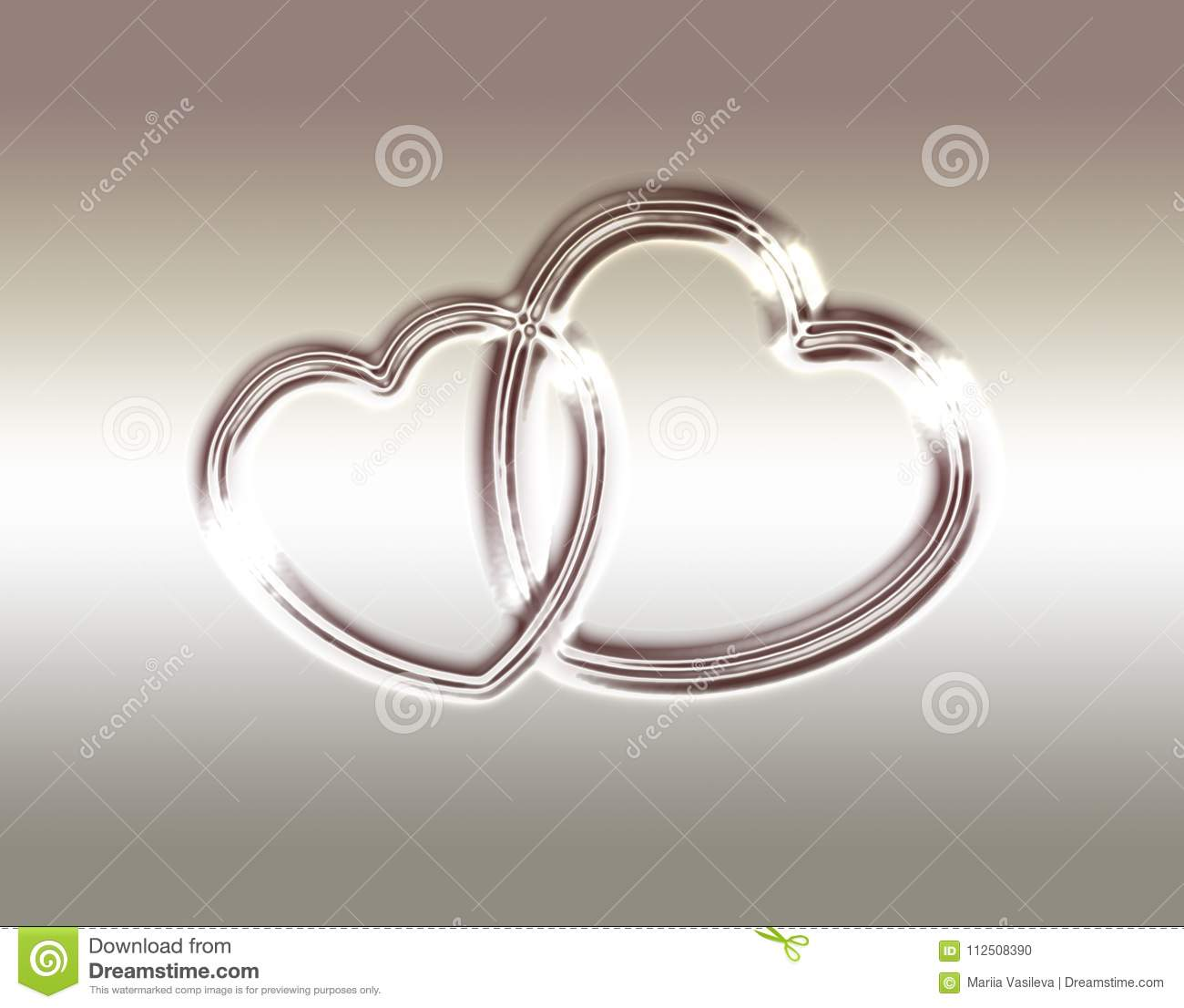 Delicate Silvery Beige Background With Shiny Hearts, Gold