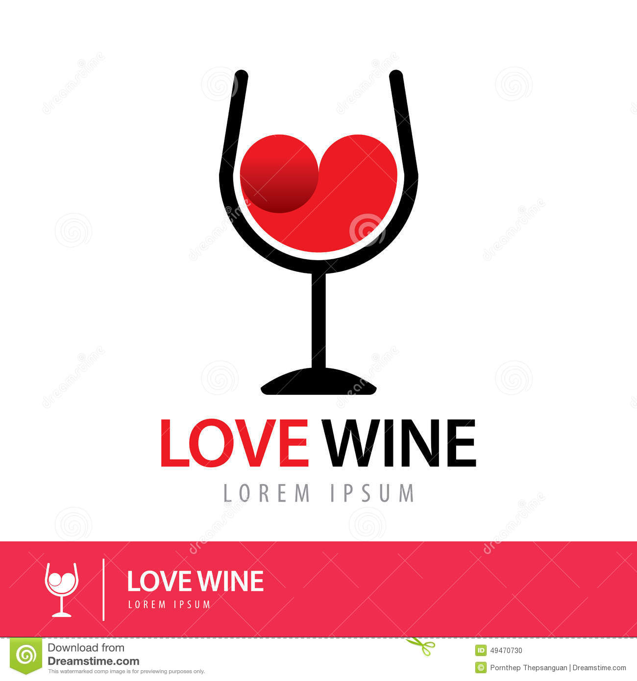 Love Wine Logo Stock Vector Illustration Of Design Shape