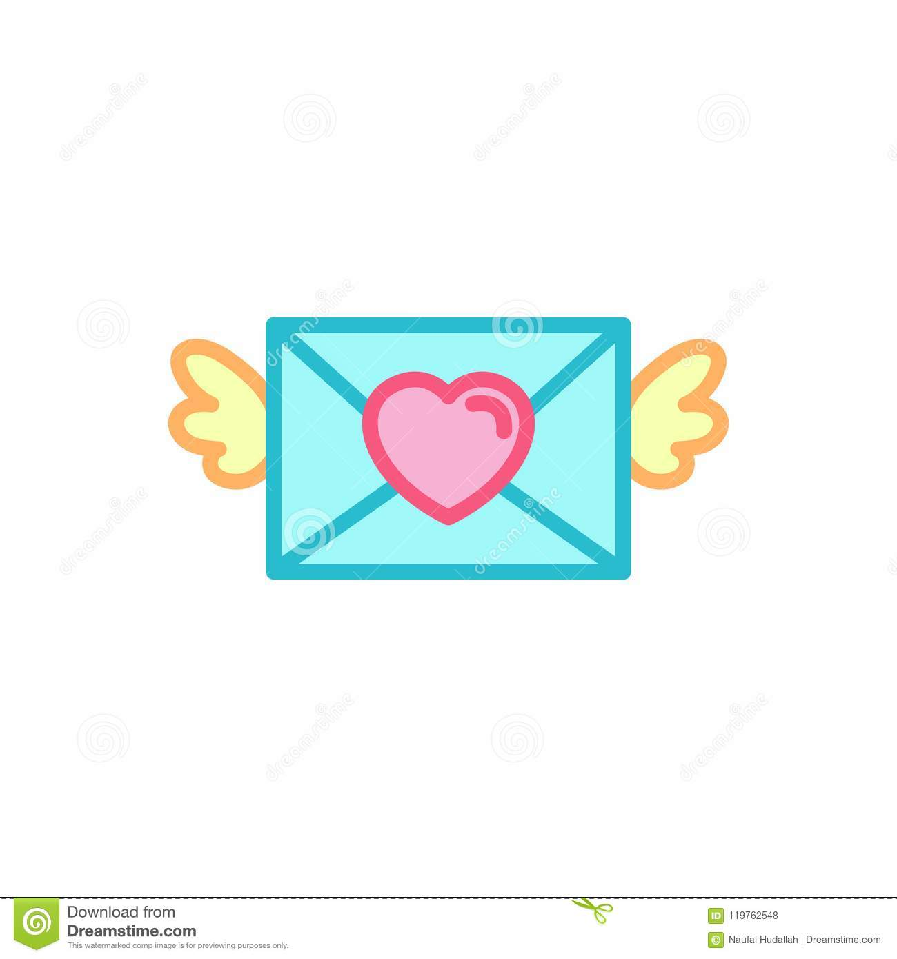 love with winged mail love letter icon simple heart illustration line style logo template design