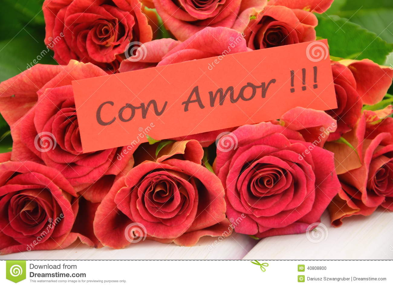 With Love Wishes In Spanish And Bouquet Of Gorgeous Red Roses Stock