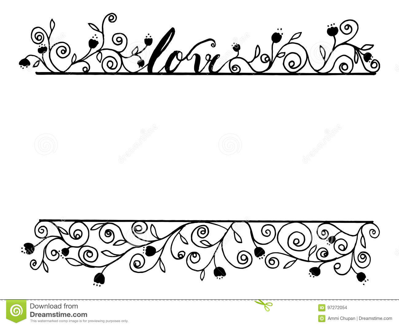Love Word Calligraphy With Flora Line Art By Hand Drawn Decoration