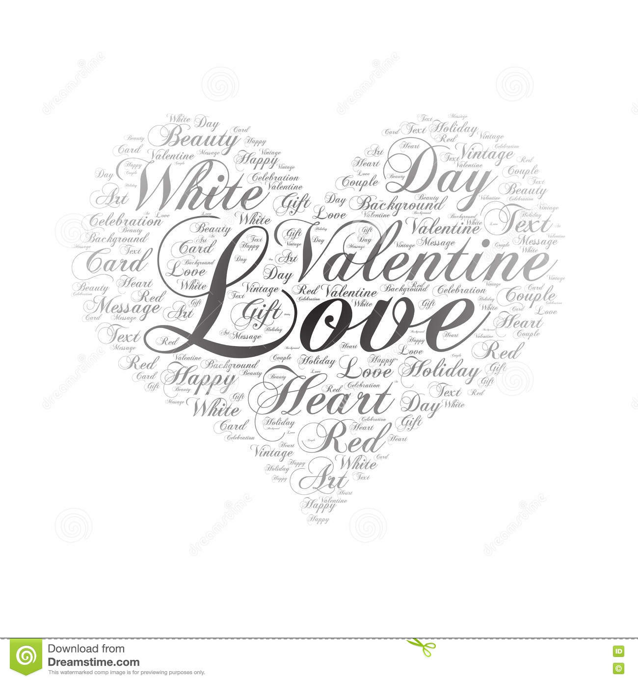 Love Word Cloud Art Background Stock Vector Illustration
