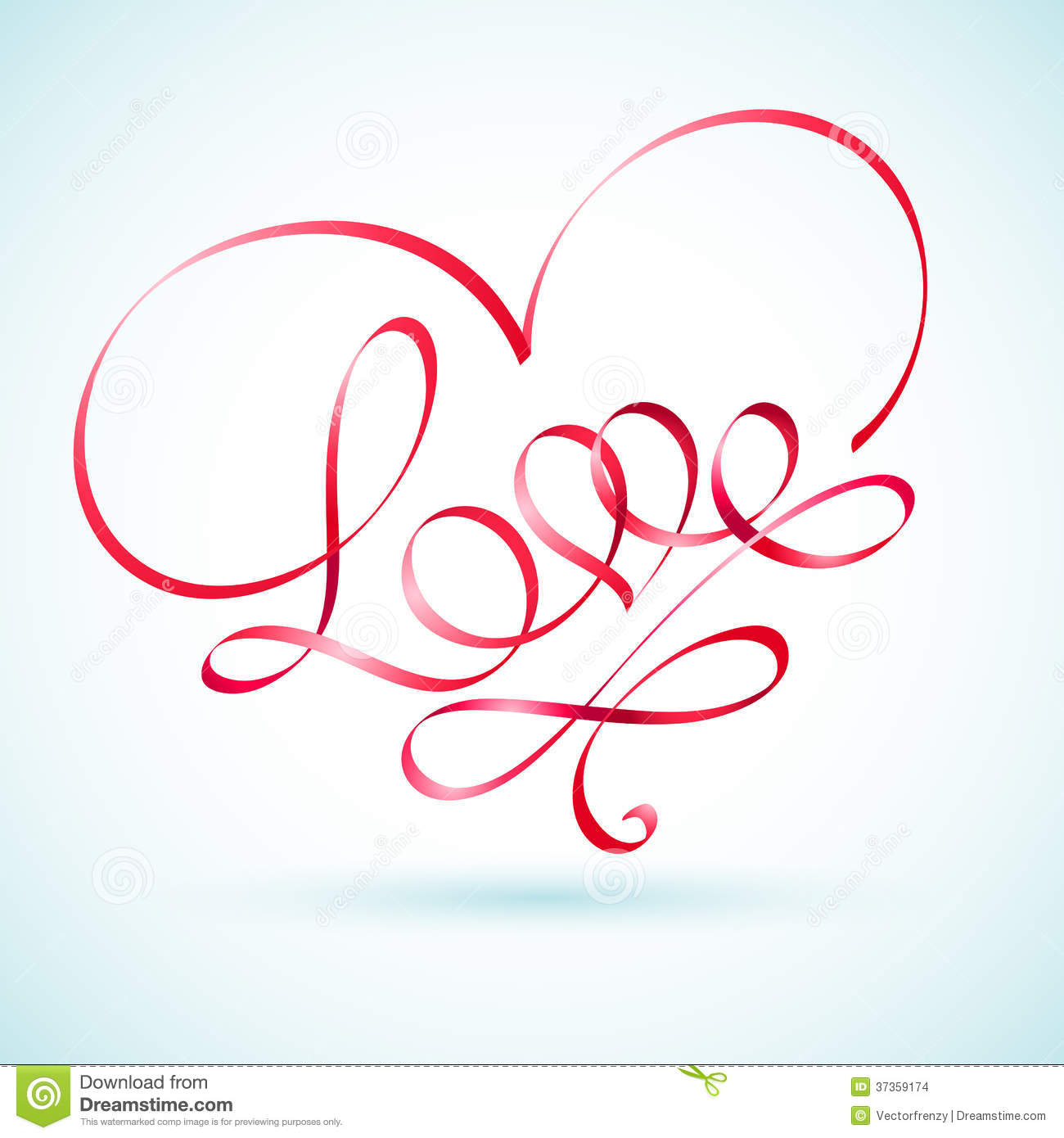 Love word ribbon in a shape of a heart stock images for Love in design