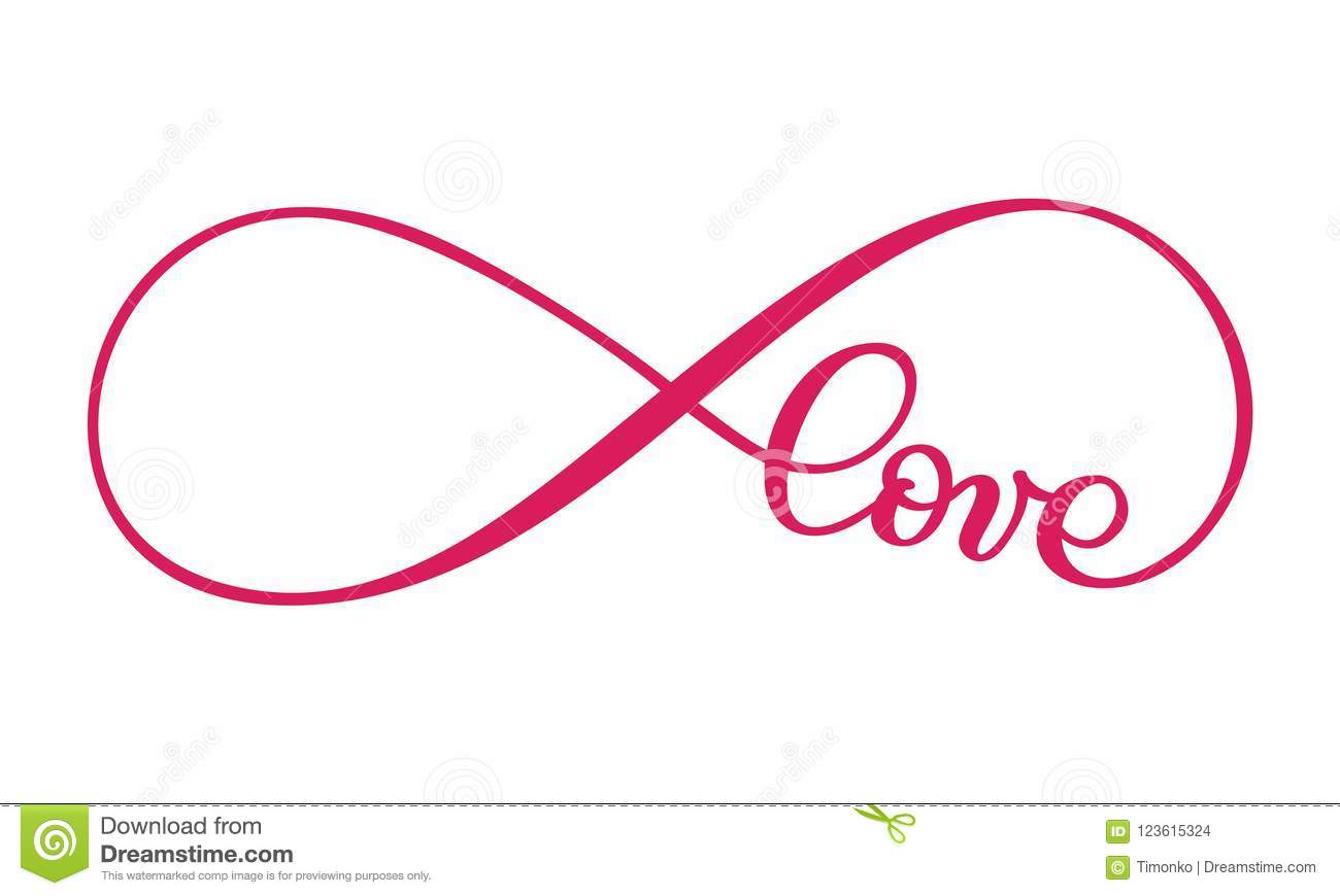Love Word In The Sign Of Infinity On Postcard To Valentine S Day
