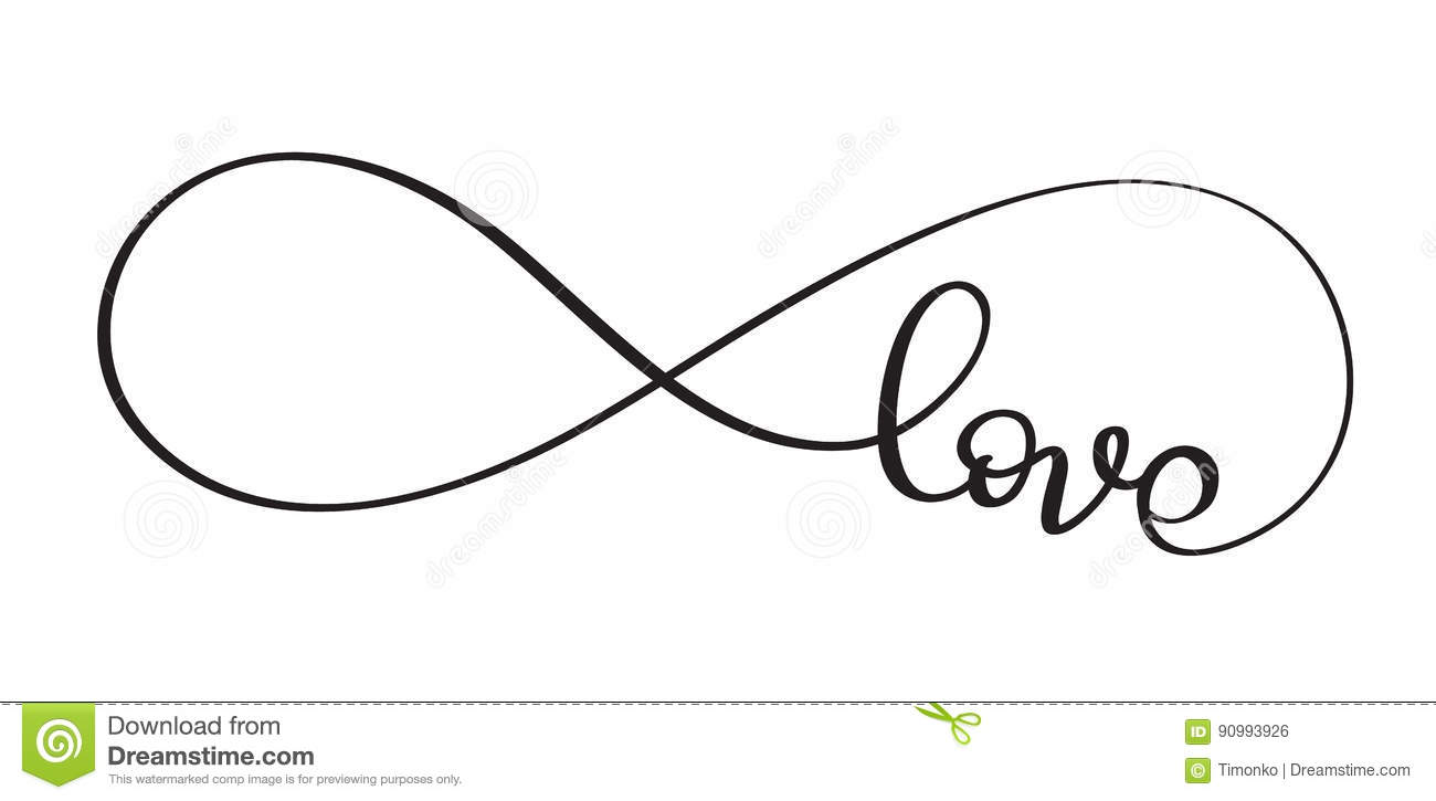 Love The Sign.Love Word In The Sign Of Infinity Vector Calligraphy And