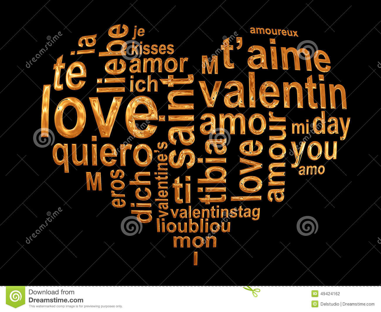 Love Words In A Golden Heart Isolated On Black