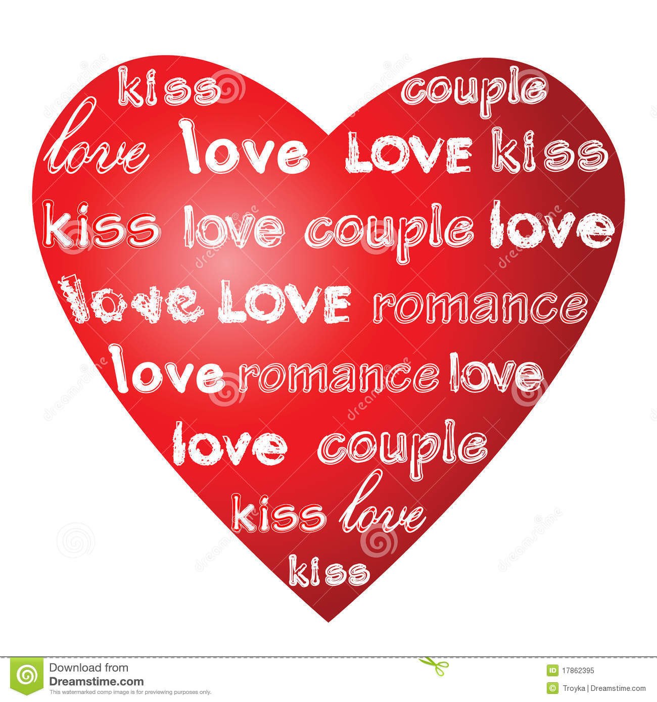Love Words On A Heart Royalty Free Stock Photo