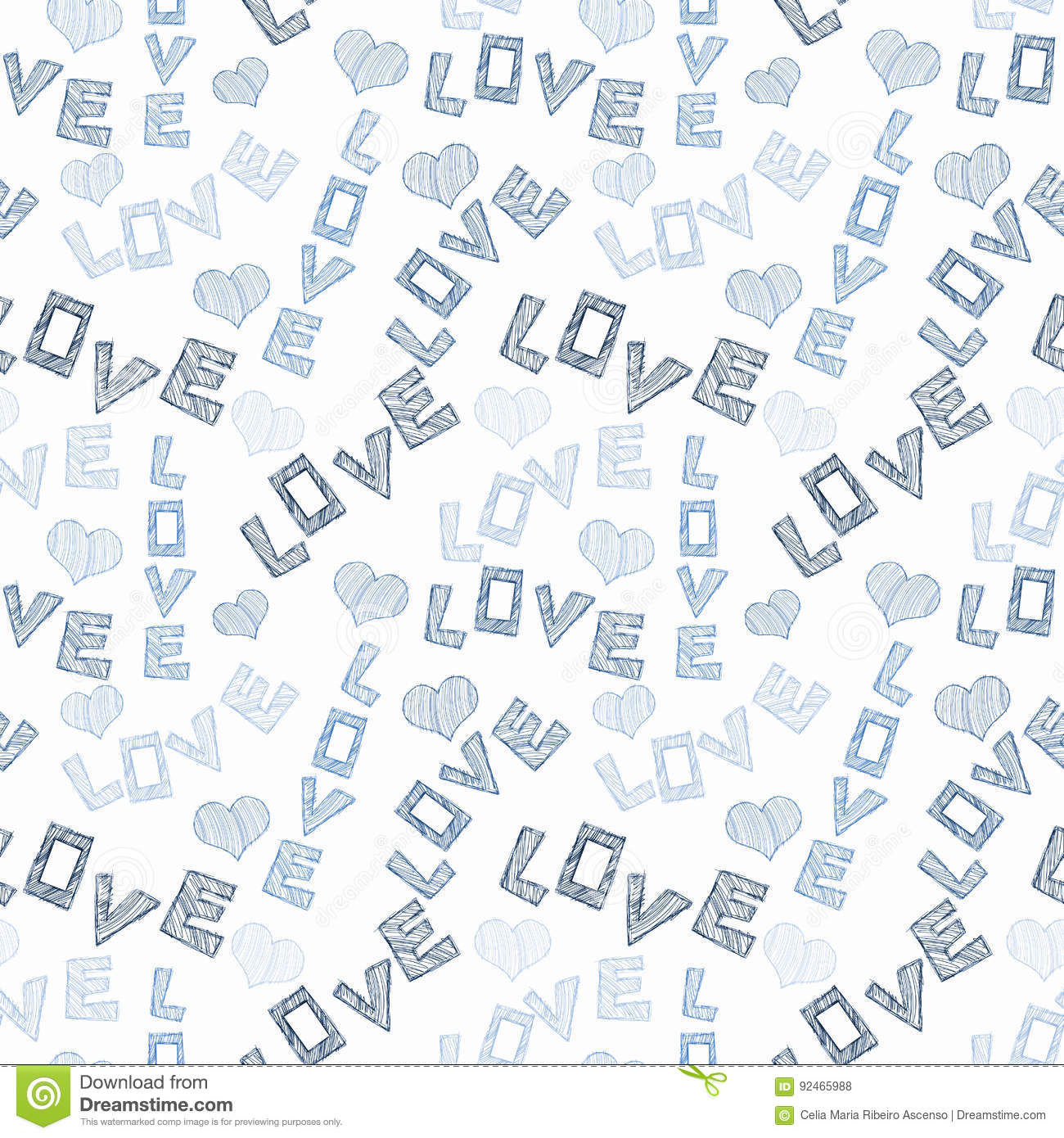 Love Words and Hearts Seamless Texture