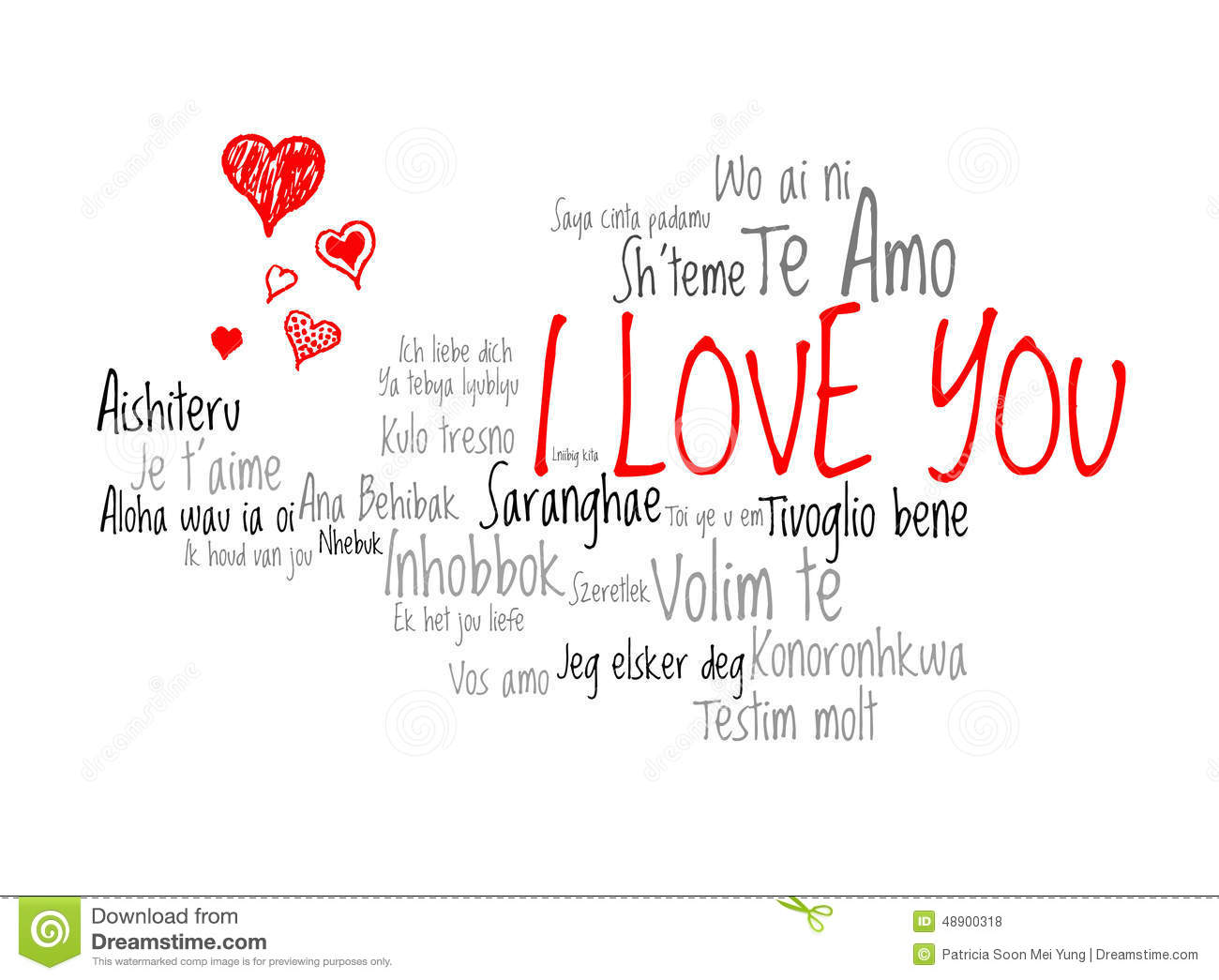Download Love Words I Love You In Different Language Of The World With Love Hearts Stock