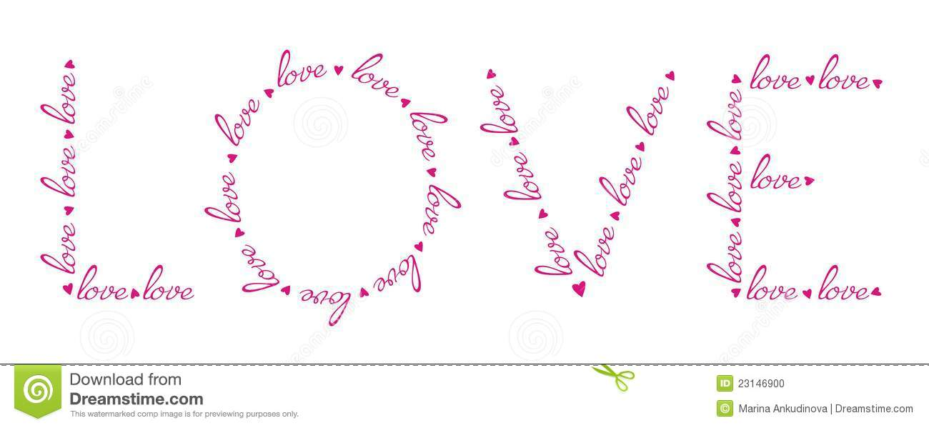 Download Love Words In The Love Word Stock Vector Il Ration Of Graphic Heart