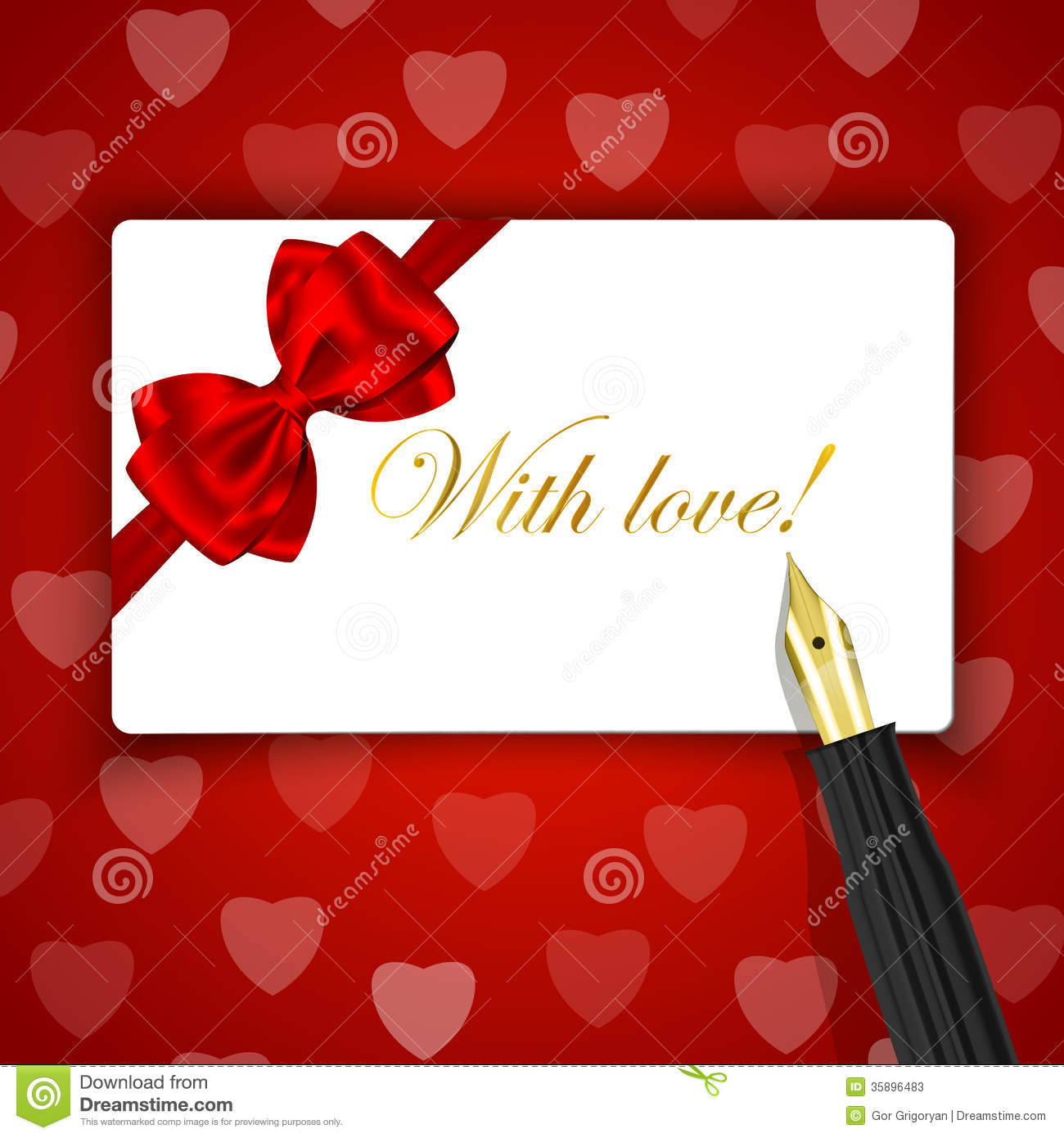 with love words on luxury gift card and fountain pen on red hea