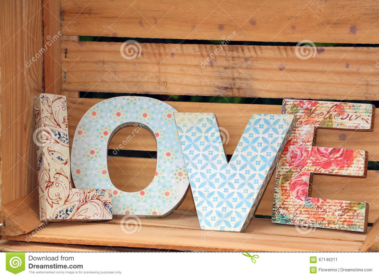 love written with wooden letters stock image