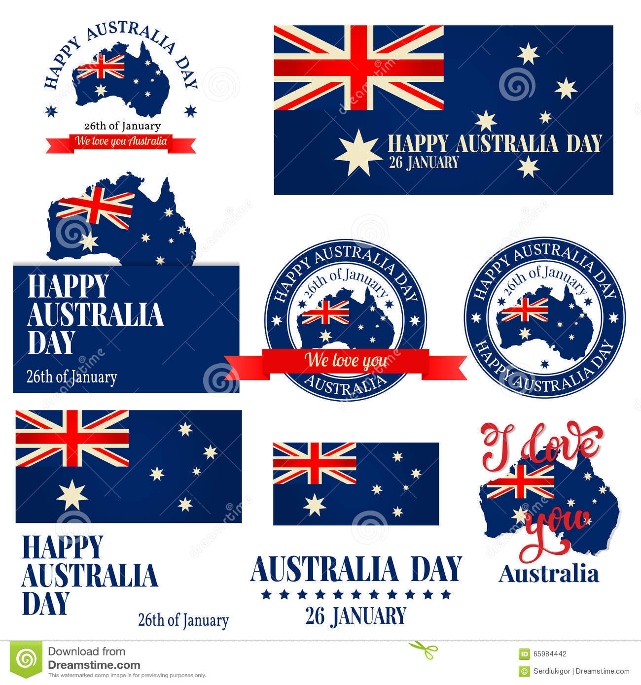 We Love You Australia Badge Label Logo Greeting Card Nationa