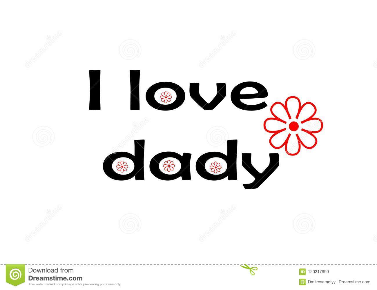 Love You Dad Card I Love Dad Lettering With Red Flower Design For