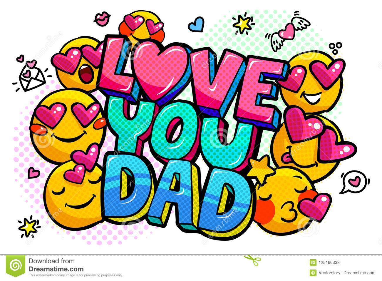 Love You Dad Message In Sound Speech Bubble Stock Vector