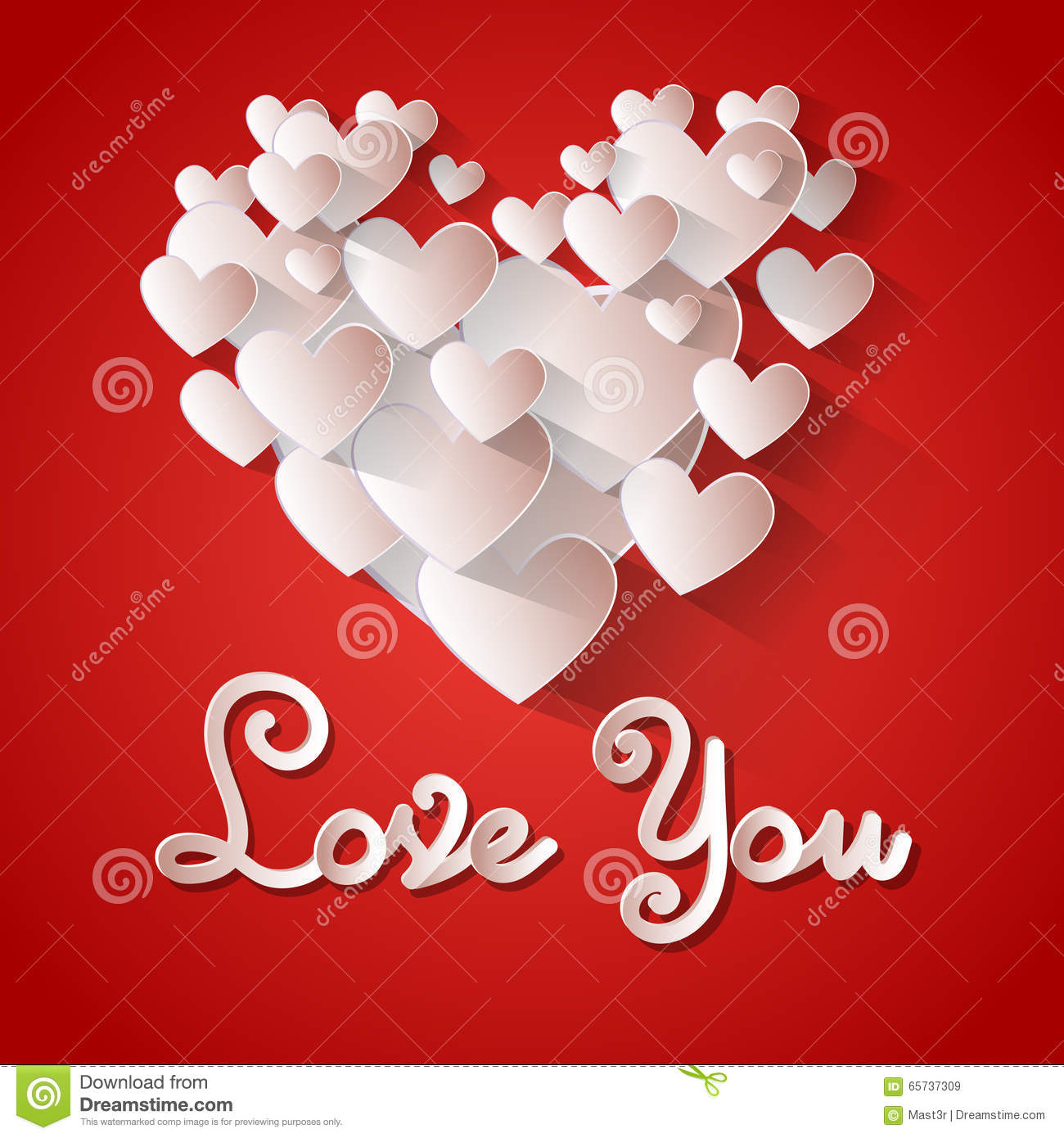 love you heart shape valentine day greeting card stock vector