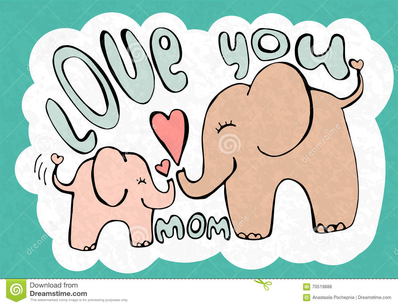 Love You Mom Greetings Card With Cute Animals Mothers Day Stock