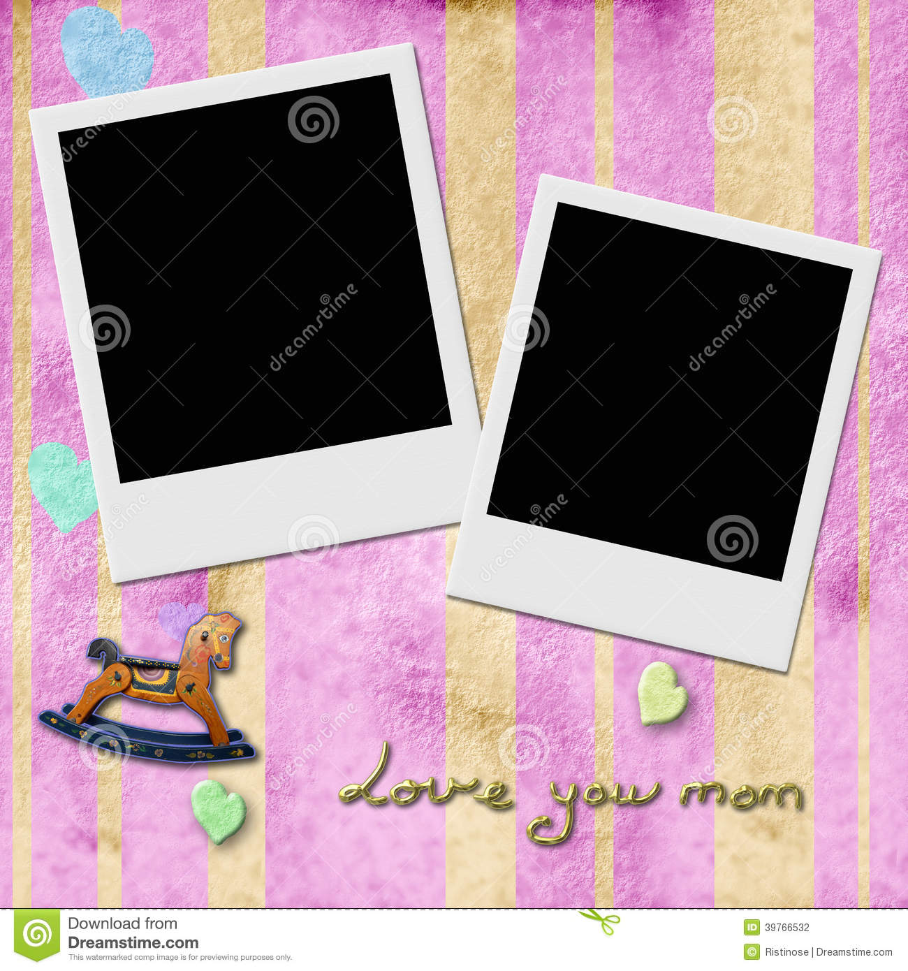 Love You Mom Two Instant Photo Frames In Pink Stock Illustration