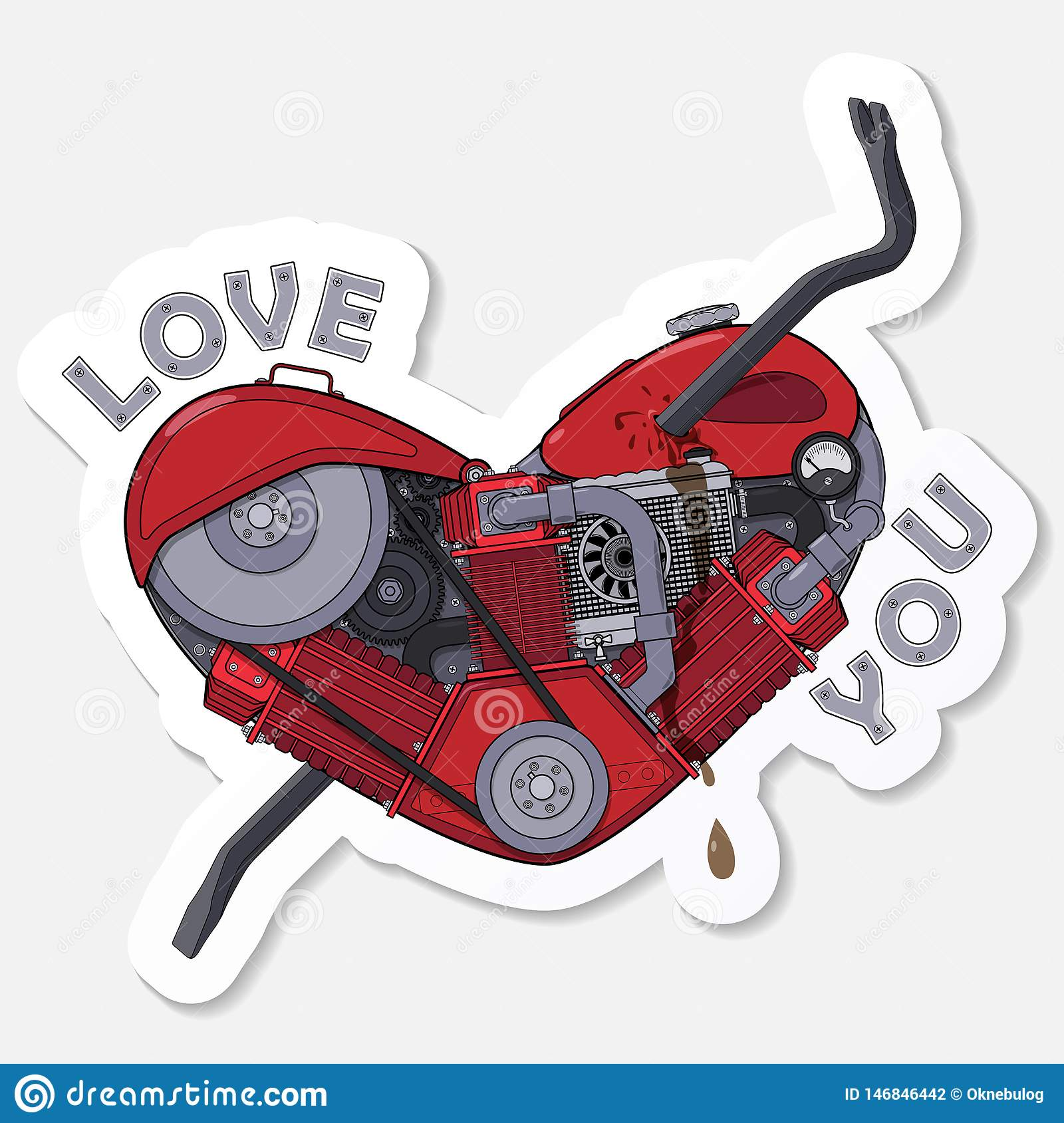 Love You. Sticker for messenger. Motor heart pierced with a crowbar. Vector
