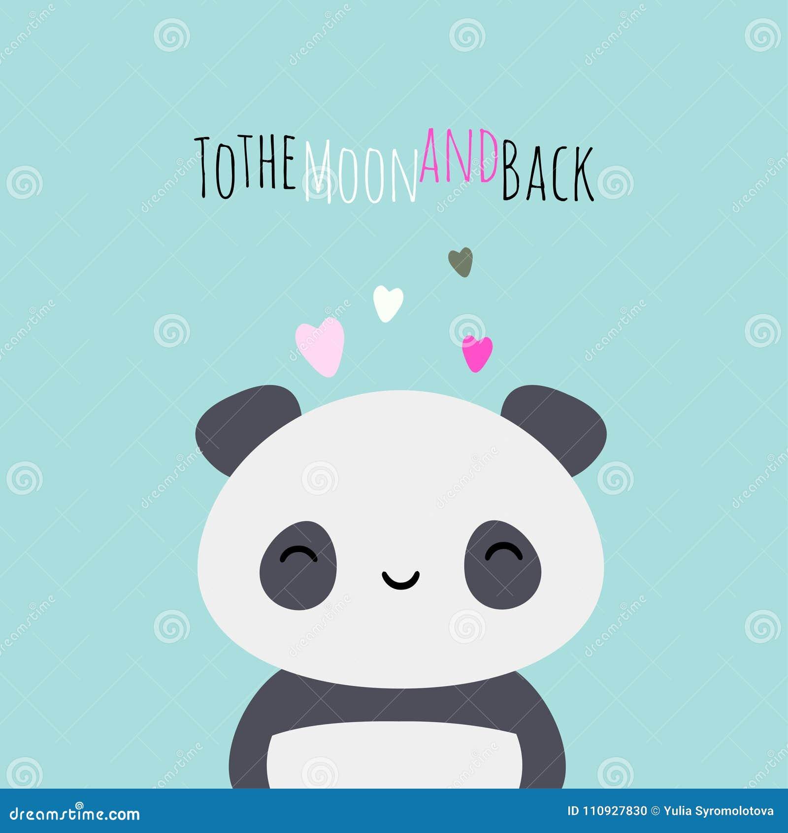 Love You To The Moon And Back Panda Bear Kawaii Stock Vector