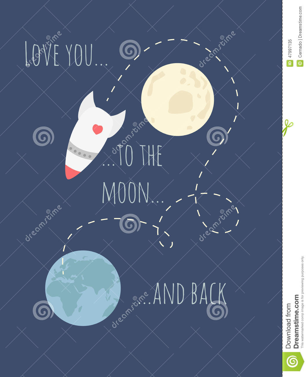 valentines day meme for a broken heat - Love You To The Moon And Back Stock Illustration Image