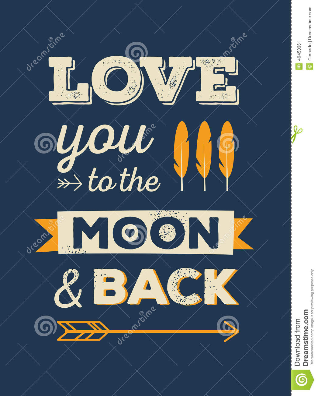 love you to the moon and back stock vector image 49450361. Black Bedroom Furniture Sets. Home Design Ideas
