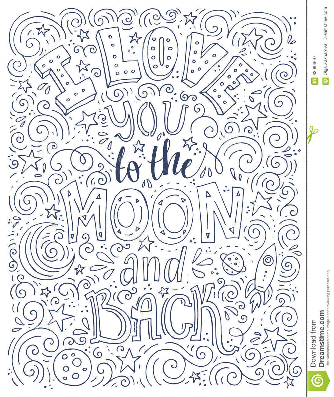 Love You To The Moon Stock Vector Illustration Of Decoration 63094597