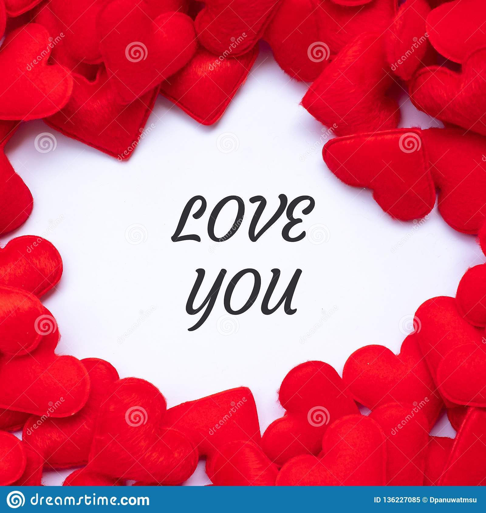 LOVE YOU word with red heart shape decoration background. Love, Wedding, Romantic and Happy Valentine' s day holiday