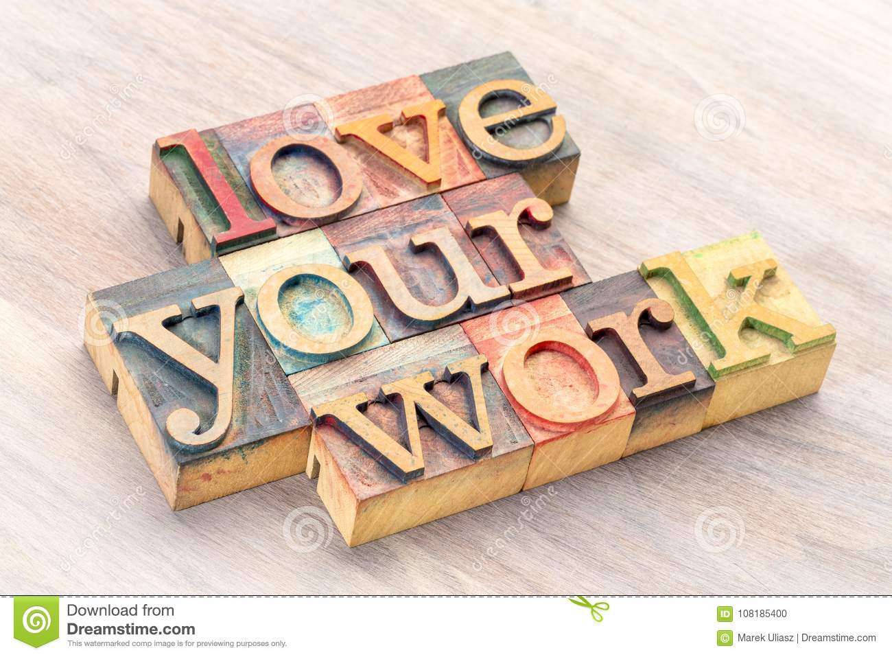 love your work word abstract in wood type stock photo image of