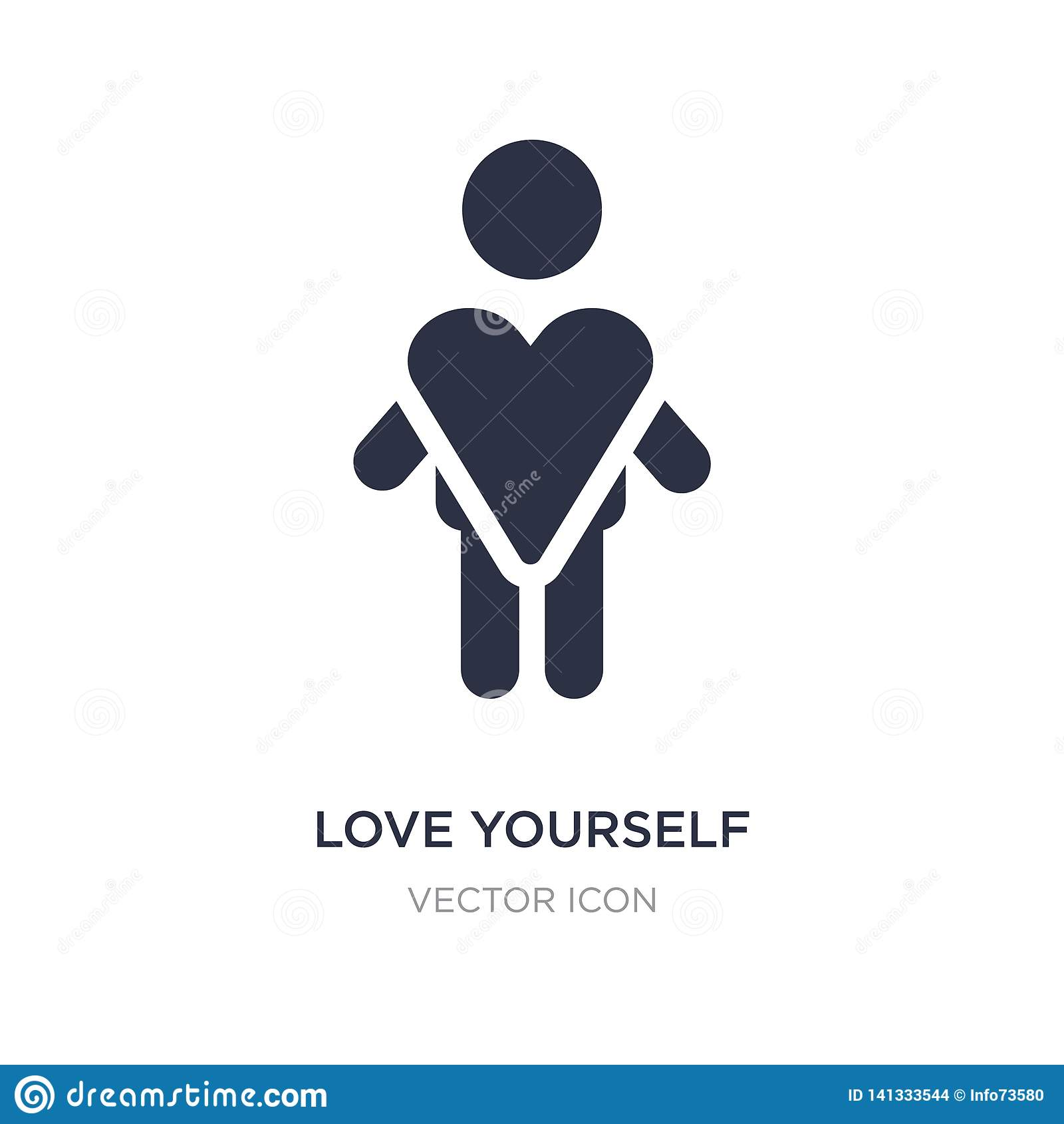 love yourself icon on white background. Simple element illustration from People concept