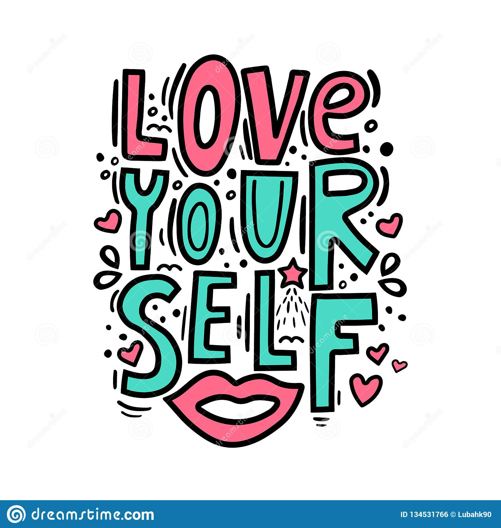 Love yourself - motivational quote. Modern brush pen lettering. Love yourself hand made color text. Handwritten