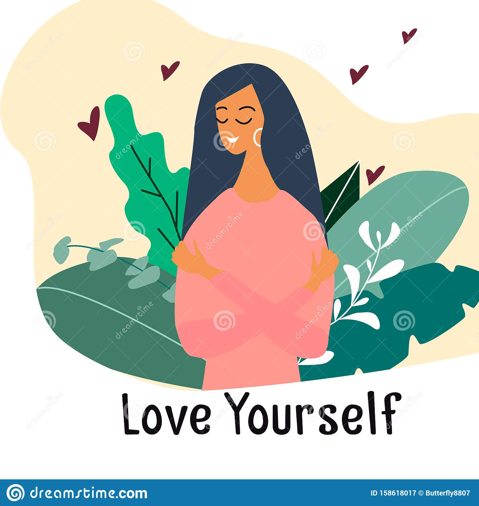 Love Yourself. Narcissistic, Self-confident Girl Hugged Herself. Vector  Concept Card or Postcard with Cute Smiling Young Girl Stock Vector -  Illustration of happy, flower: 158618017