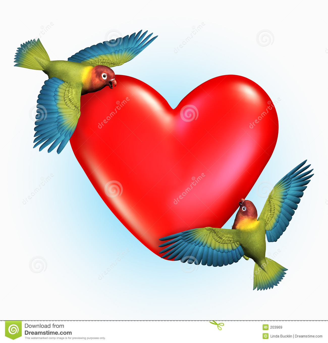 lovebirds flying near a heart includes clipping path stock
