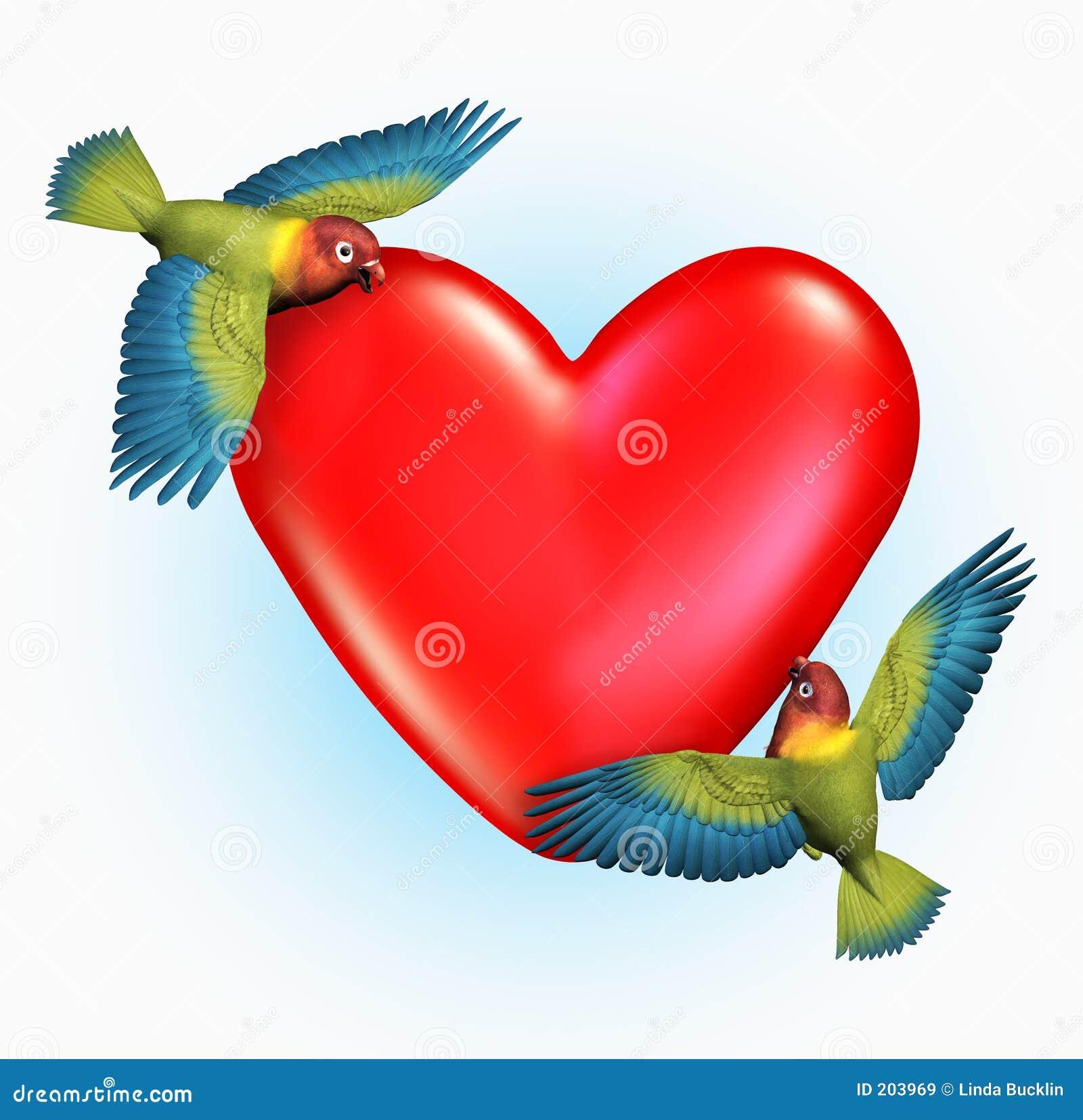 3D render of two Lovebirds flying near a heart.