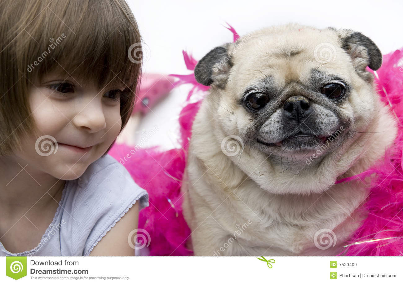 A lovely adorable young child with pug