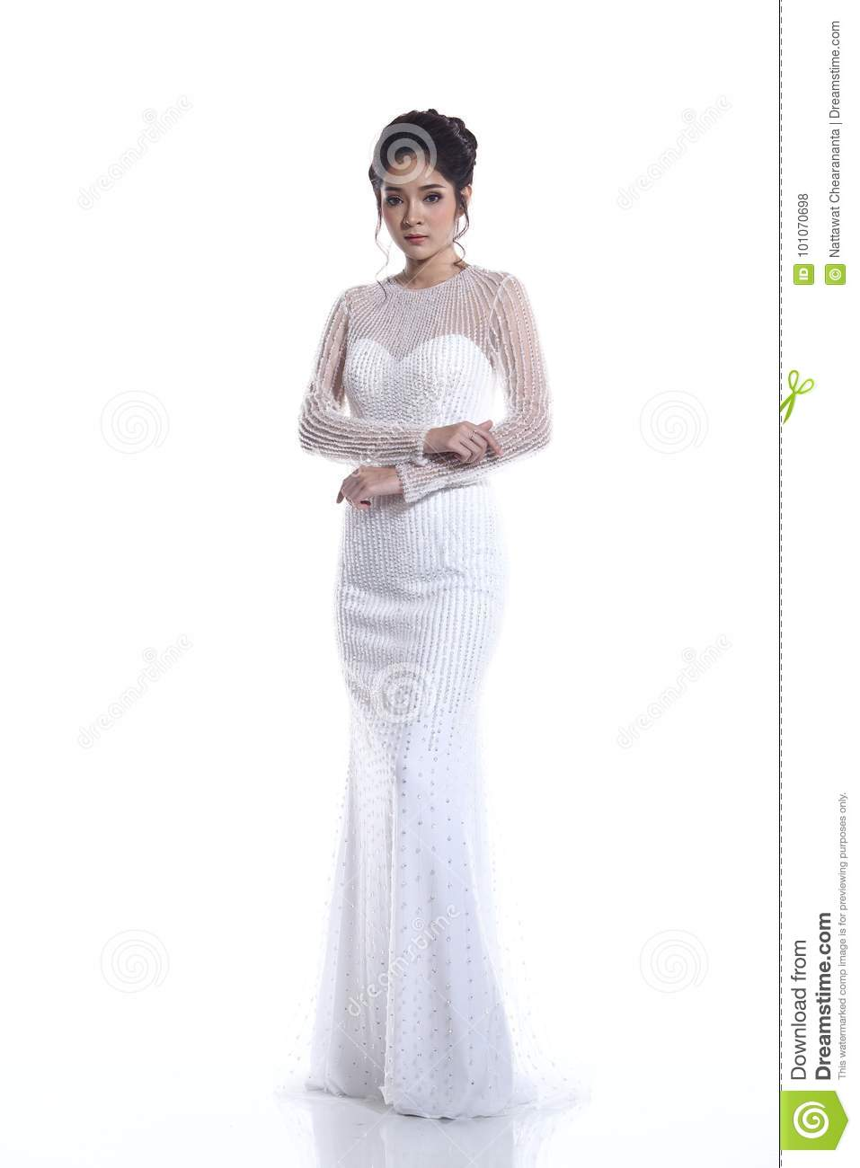 Lovely Asian Beautiful Woman Bride In White Wedding Gown Dress W ...