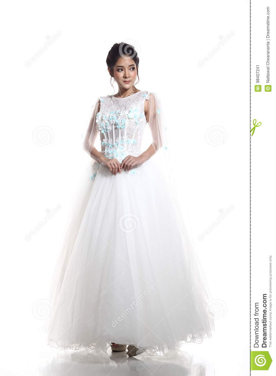 Full Length Body Lovely Asian Beautiful Woman Bride In White Wedding Blue Flower Gown Dress With Lace Black Hair Studio Lighting Background: Turquoise Black And White Wedding Dresses At Websimilar.org
