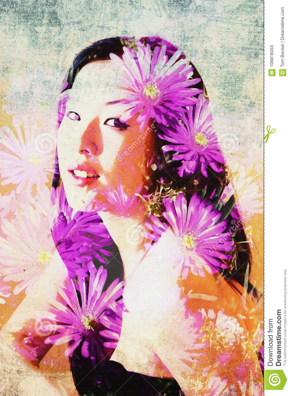 Lovely Asian Model Is Surrounded By Daisy Flowers In This Double