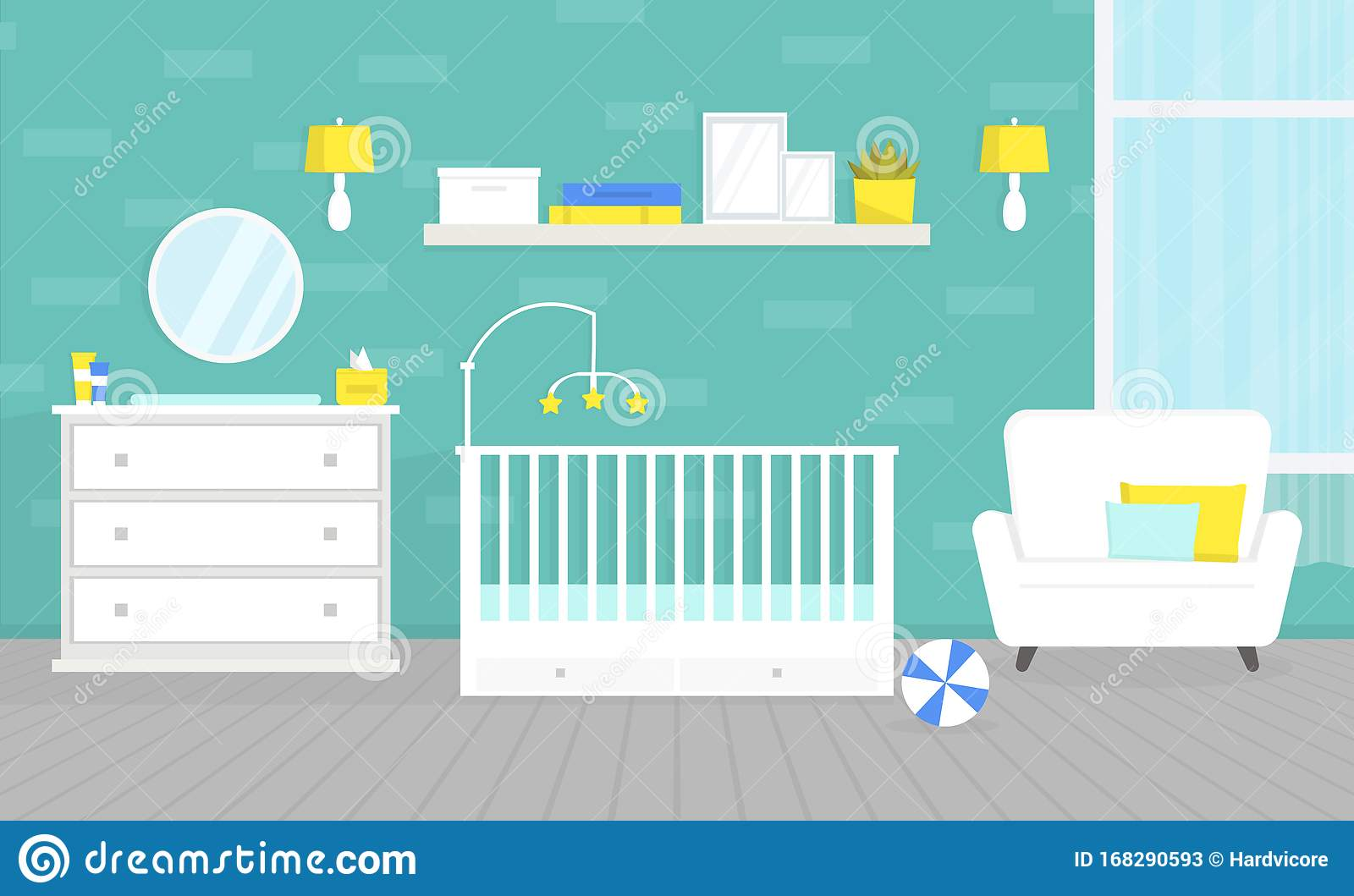Picture of: Lovely Baby Room Interior With Furniture Crib For Newborn Changing Table Chest Of Drawers Nursery Home Design Stock Vector Illustration Of Bedroom Childhood 168290593