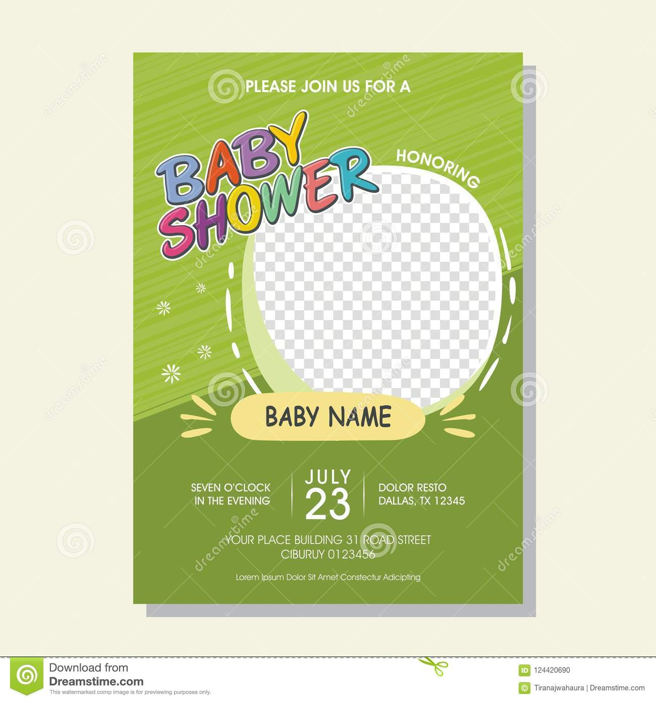 Lovely Baby Shower Invitation Card With Cartoon Style Stock